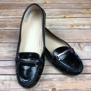 CALVIN KLEIN Black Moc Leather Loafers Flats Shoes